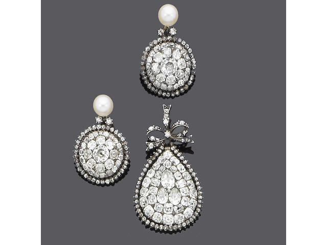 A 19th century diamond pendant and a pair of cultured pearl and diamond earrings, (2)