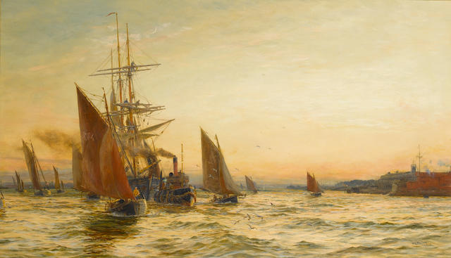 William Lionel Wyllie, R.A., R.E. (British, 1851-1931) The mouth of the harbour 66 x 111.7cm. (26 x 44in.)