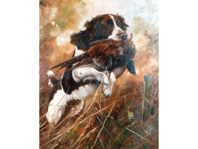 John Trickett (British, 1953) A Springer Spaniel retrieving