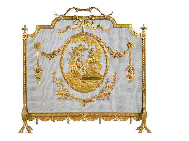 A late 19th century French gilt bronze Louis XVI style firescreen by Bouhon Fres, Paris