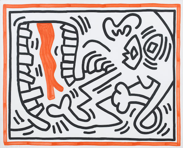 Keith Haring (American, 1958-1990) Untitled from Three Lithographs  Lithograph, 1985, from the set o