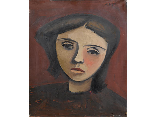 William Scott R.A. (British, 1913-1989) Head of a Girl 30.5 x 25.5 cm. (12 x 10 in.) William Scott a