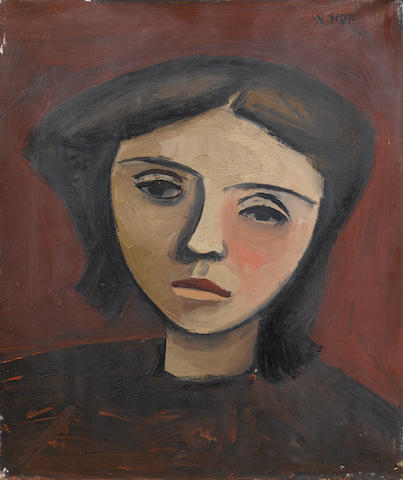 William Scott R.A. (British, 1913-1989) Head of a Girl 30.5 x 25.5 cm. (12 x 10 in.) William Scott archive number 16 (Painted in 1946)