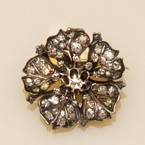 A late 19th century sapphire and diamond brooch/pendant,