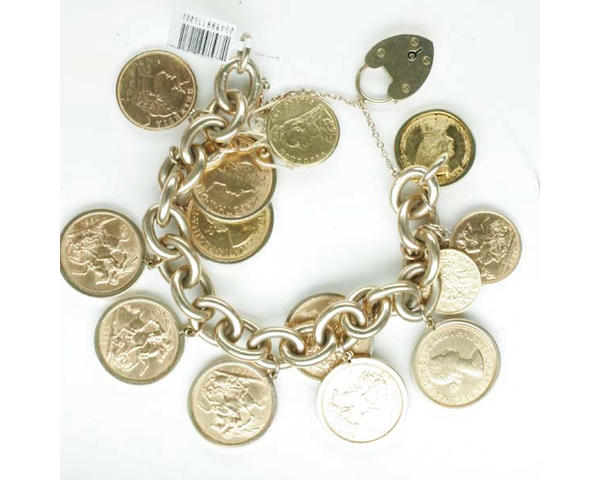 A sovereign bracelet Victoria: half sovereign, 1887, soldered; George V: half sovereign, 1914, soldered; Elizabeth II: eight sovereigns, 1958 (x2), 1959 (x6), in pendant mounts; Switzerland: 20 francs, 1918, soldered; Germany, Ludwig II: 1877, 5 marks, soldered; United States of America: one dollar, soldered; and a John F. Kennedy commemorative coin, all suspended from 9ct gold solid curb-link chain bracelet,