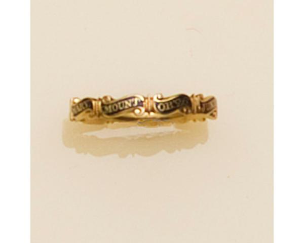 A George II memento mori gold and black enamel ring