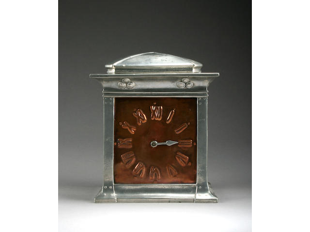 Liberty & Co A Tudric Pewter & Copper Mantle Clock, circa 1910