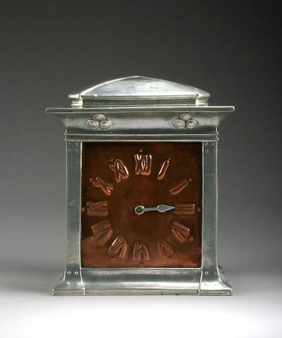Liberty & Co A Tudric Pewter & Copper Mantle Clock, circa 1910
