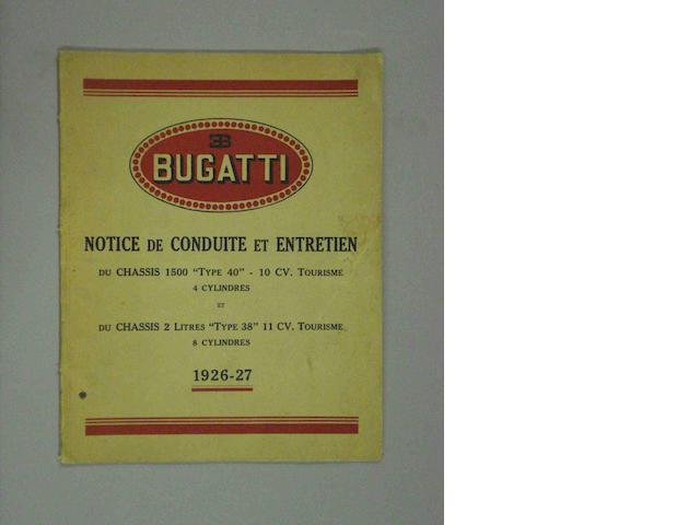 A Bugatti Type 40 and 38 workshop manual, 1927,