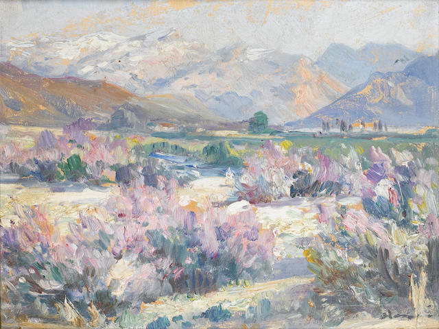 Pieter Hugo Naudé  (South African, 1869-1941) Purple blossom with mountains beyond