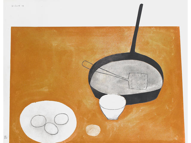 William Scott R.A. (British, 1913-1989) Still Life with Frying Pan and Eggs Screenprint, 1973, printed in colours, on wove, signed, dated and numbered 35/250 in pencil, printed at Kelpra Studio with their stamp on the reverse, published by CCA with their blindstamp, 672 x 883mm (26 1/2 x 34 3/4in)(SH)(unframed)