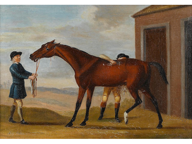 Francis Sartorius (London 1734-1804) Bay Malton, held by a groom, being rubbed down 43.5 x 61.5cm (17 1/8 x 24 1/8in)