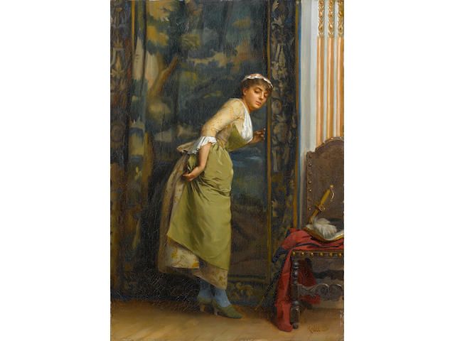 Théodore Jacques Ralli (Greek, 1852-1909) Eavesdropping 55.5 x 37 cm.