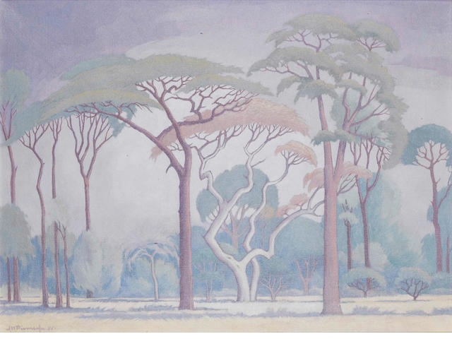 Jacob Hendrik Pierneef (South African, 1886-1957), J H Pierneef, Trees on the Veld, oil Trees on the