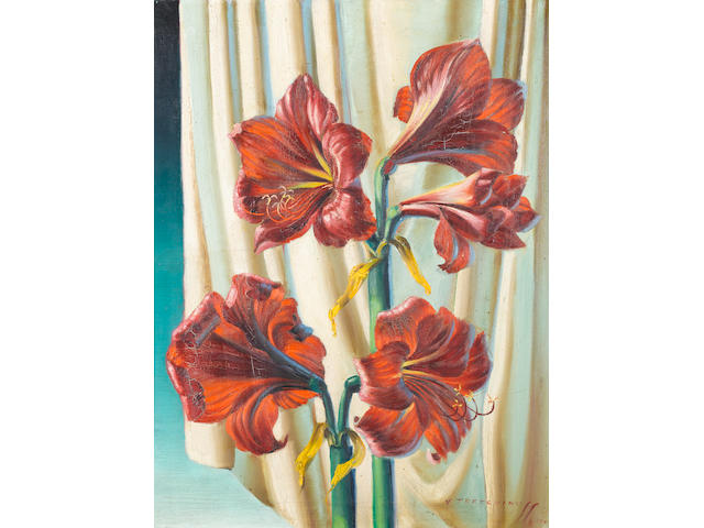 Vladimir Tretchikoff (South African, 1913-2006), Tretchikoff, Still life of red lilies, oil on canva