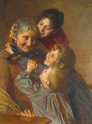 Gaetano Bellei (Italian, 1857-1922) La nonna con i suoi pronipoti