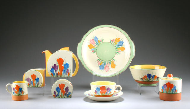 A Clarice Cliff 'Autumn Crocus' tea service