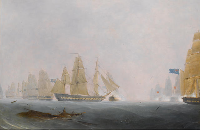 Robert Strickland Thomas (British, 1787-1853) H.M.S. Caesar and H.M.S. Queen Charlotte engaging the
