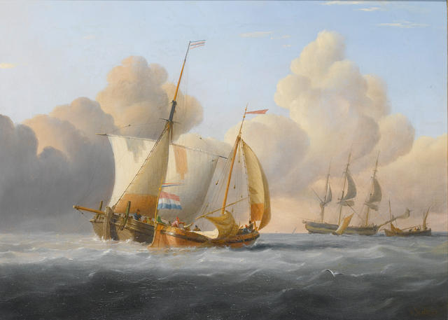 Joseph Walter (British, 1783-1856) Hauling up the sails  40.7 x 56cm. (16 x 22in.)