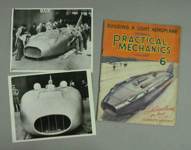 Two press photographs of Captain George Eyston in his World Land Speed Record Breaking Thunderbolt cars,