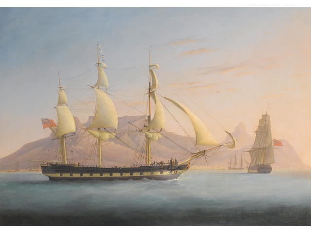 Thos. Whitecombe: Three masted ships of the line off Cape Town, oil on canvas.