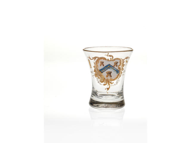 A rare Beilby polychrome enamelled Masonic firing glass Circa 1765.