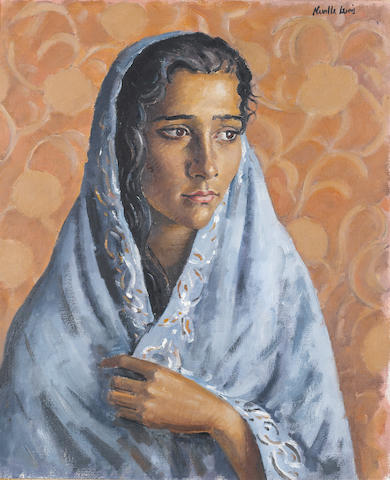 (n/a) Alfred Neville Lewis (South African, 1895-1972) Portrait of a Malay woman wearing a blue shawl