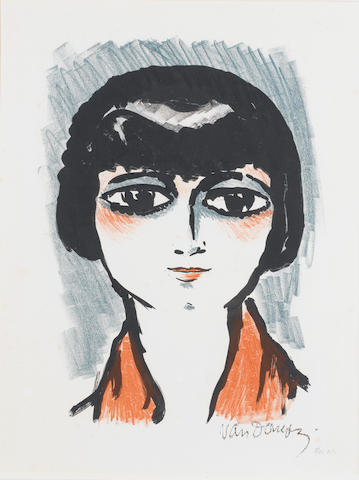 Cornelius Theodorus Maria (Kees) Van Dongen (Dutch, 1877-1968) Head of a young girl Lithograph, 1927, from the album 'Femmes', on wove, an unnumbered proof aside from the numbered edition of 120, 525 x 375mm (20 2/3 x 14 3/4in)(SH), together with a Jacques Villon aquatint 'La femme au hamac', numbered 146/200 and signed in pencil by Villon and Marie Laurencin, plus a Luce lithograph of a girl, signed in pencil (3)(1 unframed)
