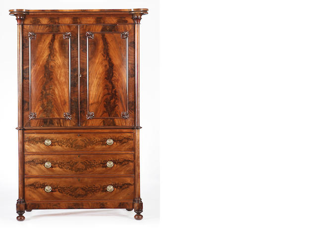 A William IV mahogany linen press