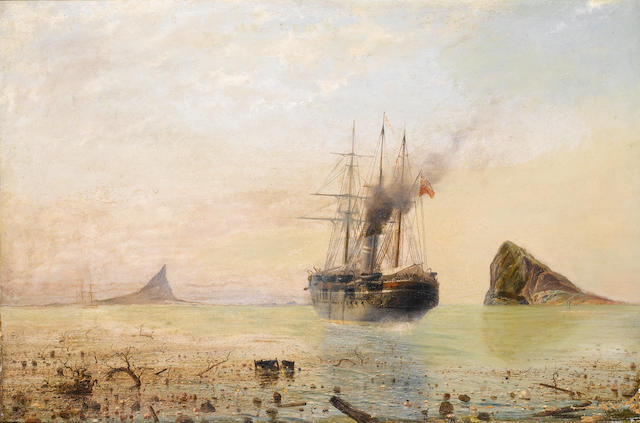 Isaac Walter Jenner (British, 1836-1902) Sailing through the debris following the eruption of Krakat