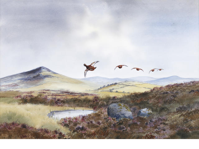 Robert W. Milliken (British, born 1920) Grouse over a moor