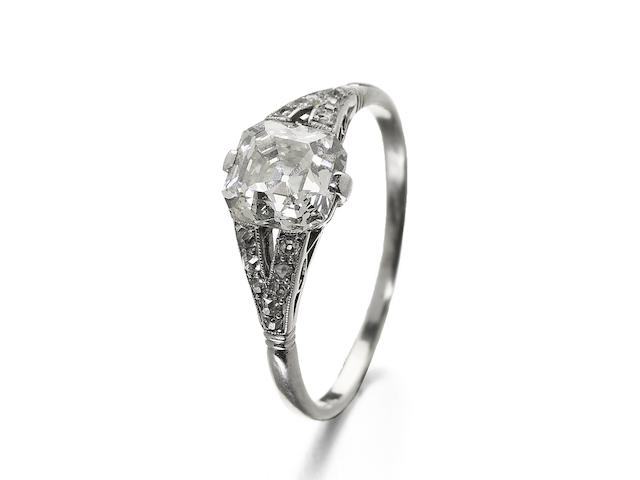 An early 20th century asscher-cut diamond single-stone ring