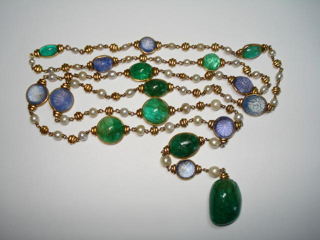 An early 20th century emerald, sapphire and pearl sautoir