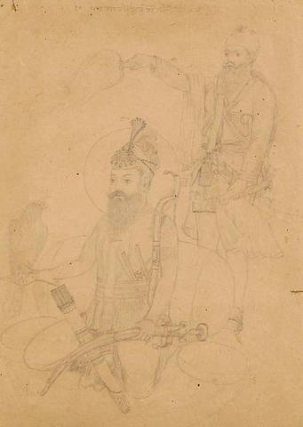 SIKH  A group of ten drawings of the Sikh gurus seated with attendants,  Company School, Punjab Plai