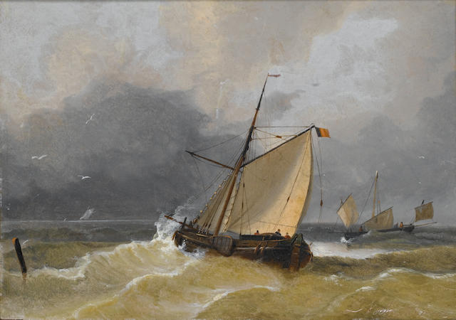 Louis Verboeckhoven (born 1870) Boats in a rough sea............