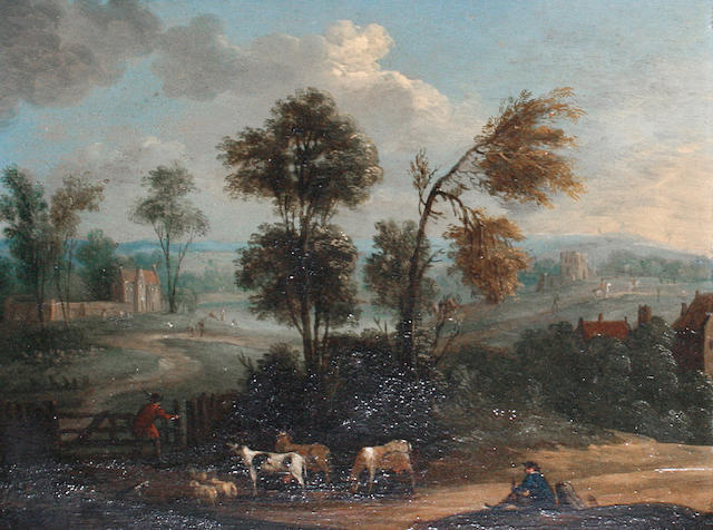 Circle of Peter Tillemans (Antwerp 1684-1734 Norton) Cowherds at a gate