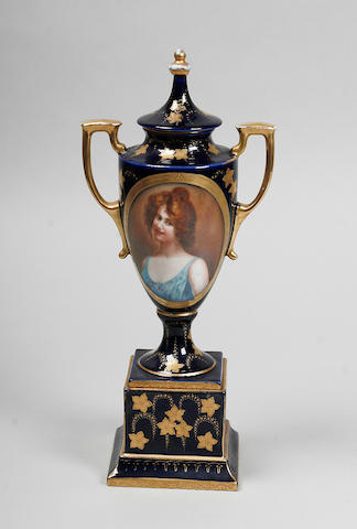 A Vienna style porcelain vase and cover circa 1900