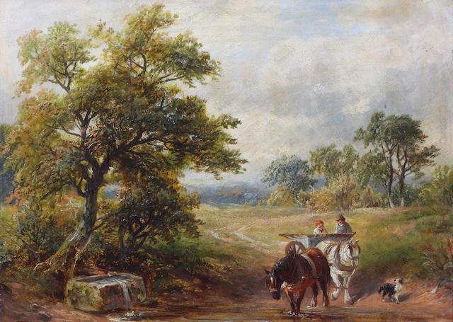 (n/a) George Turner (British, 1843-1910) 'Crossing the Brook' 25 x 36cm.
