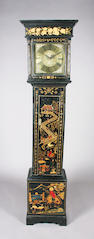 An 18th century elm and oak and later chinoiserie decorated longcase clock
