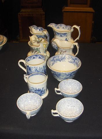 A group of Llanelly jugs, mugs and teawares