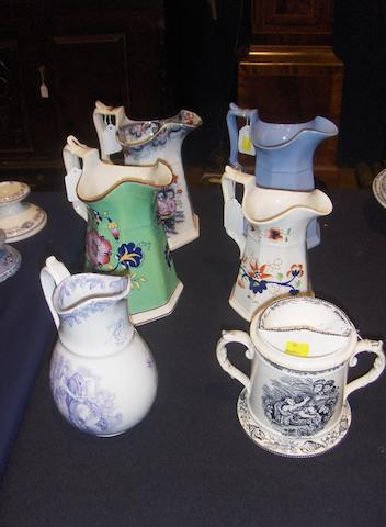 A rare Llanelly shaving mug and five Llanelly jugs