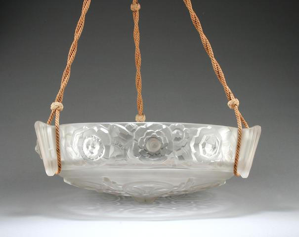A Sabino Art Deco glass plaffonier