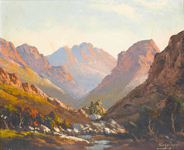 Marthinus (Tinus) Johannes de Jongh (South African, 1885-1942) Evening sun in a valley