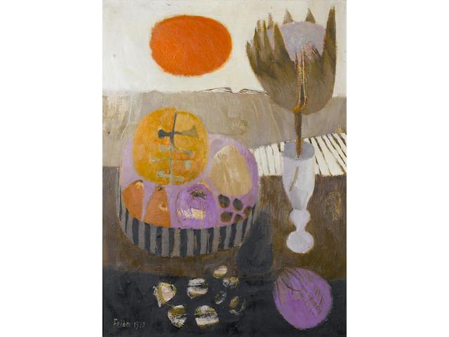 Mary Fedden R.A. (British, born 1915) Red Sun 76 x 56 cm. (30 x 22 in.)