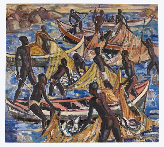 (n/a) Hennie Niemann Jnr. (South African, born 1972) Pulling nets, Lake Malawi