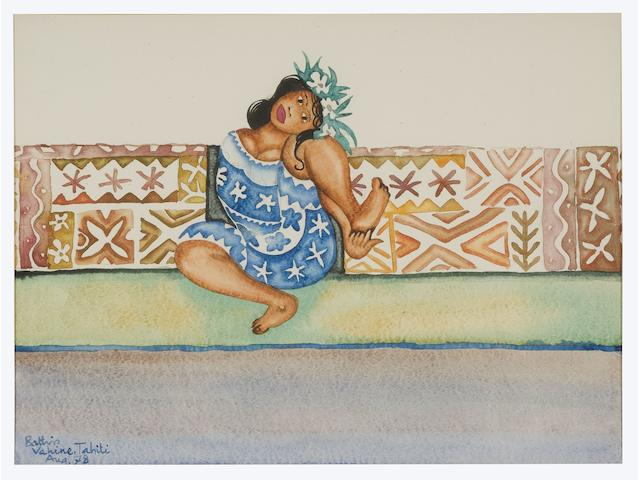 Walter Whall Battiss (South African, 1906-1982) Tahitian girl