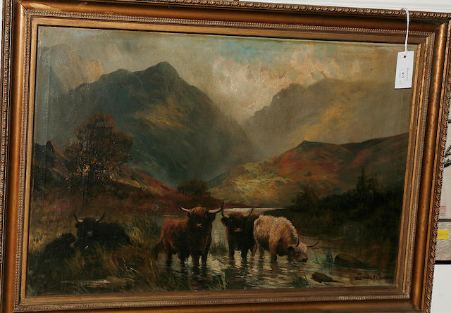 Stanley Graham Highland cattle watering in a loch landscape, and another similar, pair,