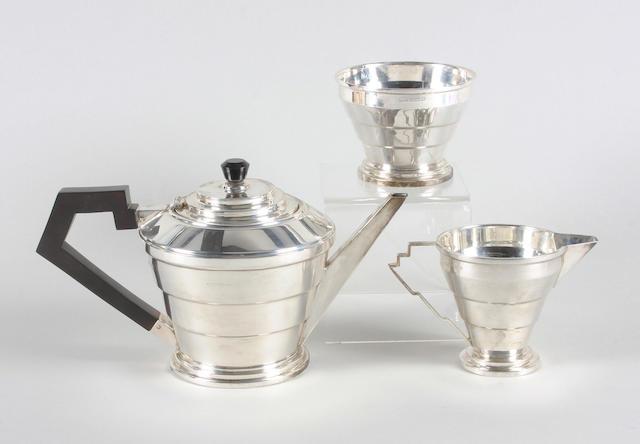 An Art Deco silver three piece tea set By A. L. Davenport Ltd, Birmingham, 1933,  (3)
