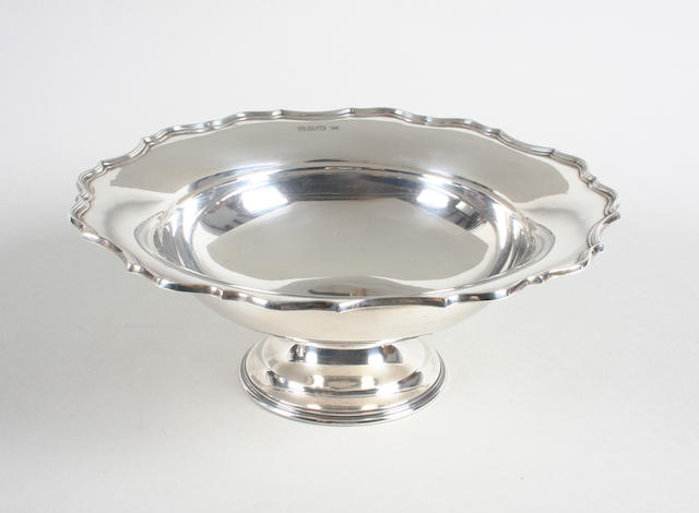 A silver pedestal dish By Barker Brothers, Chester, 1922,