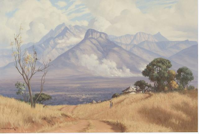 Willem Hermanus Coetzer (South African, 1900-1983) Eastern Transvaal, bush fire